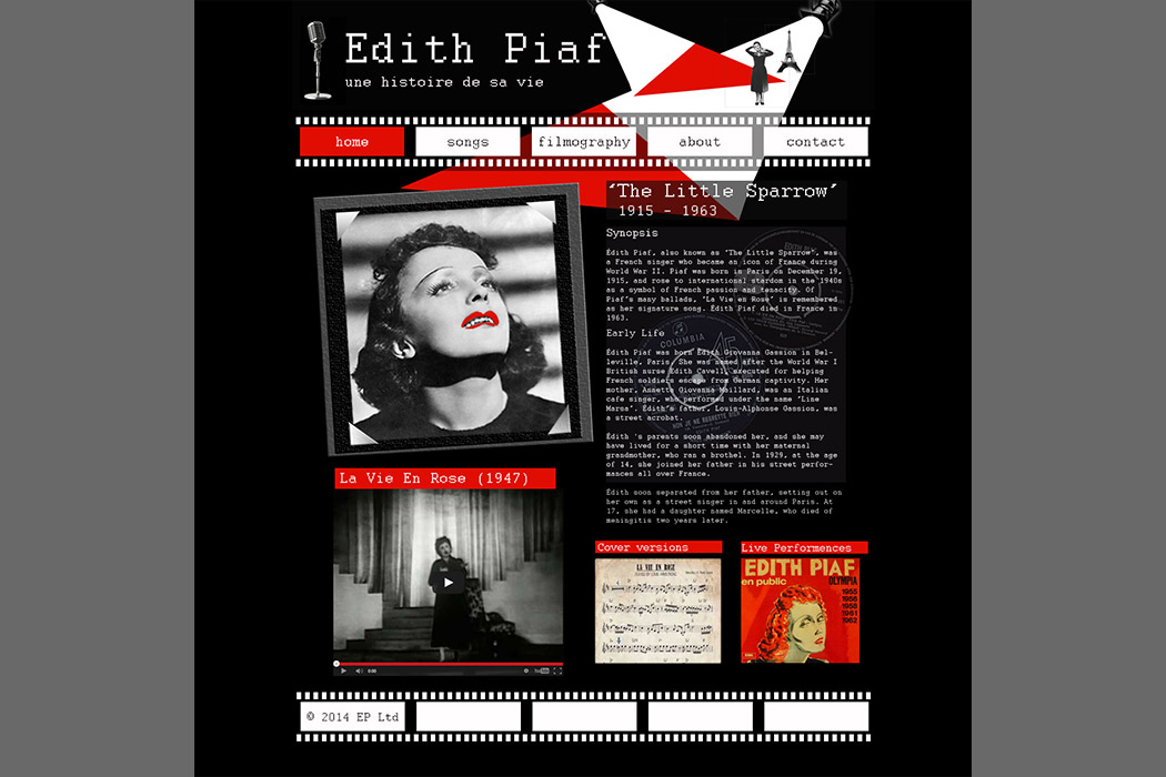 Edith Piaf fan weebsite image