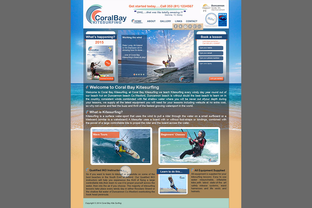 Kitesurf Website Designed from Scratch using a logo