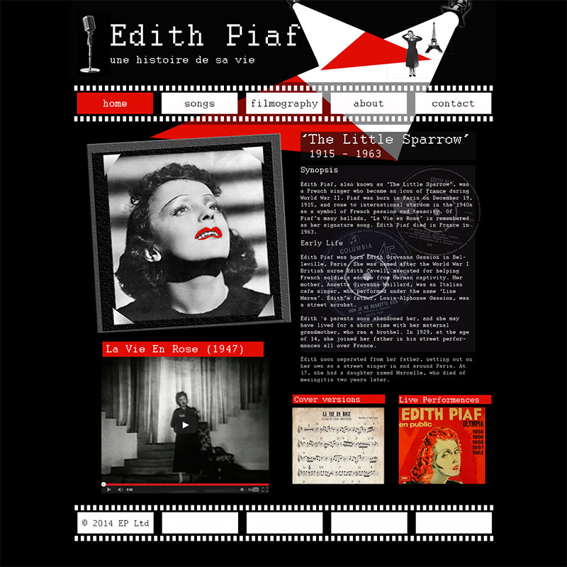 Edith Piaf Fan Website Homepage image