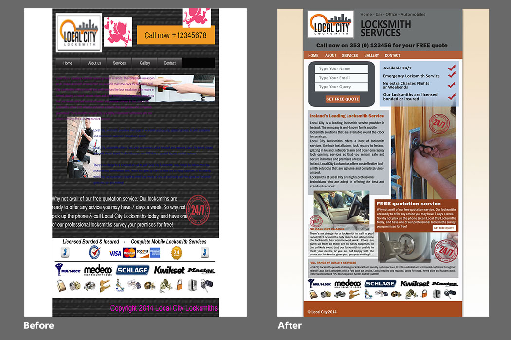 Locksmith Services Website before and after Website Redesign
