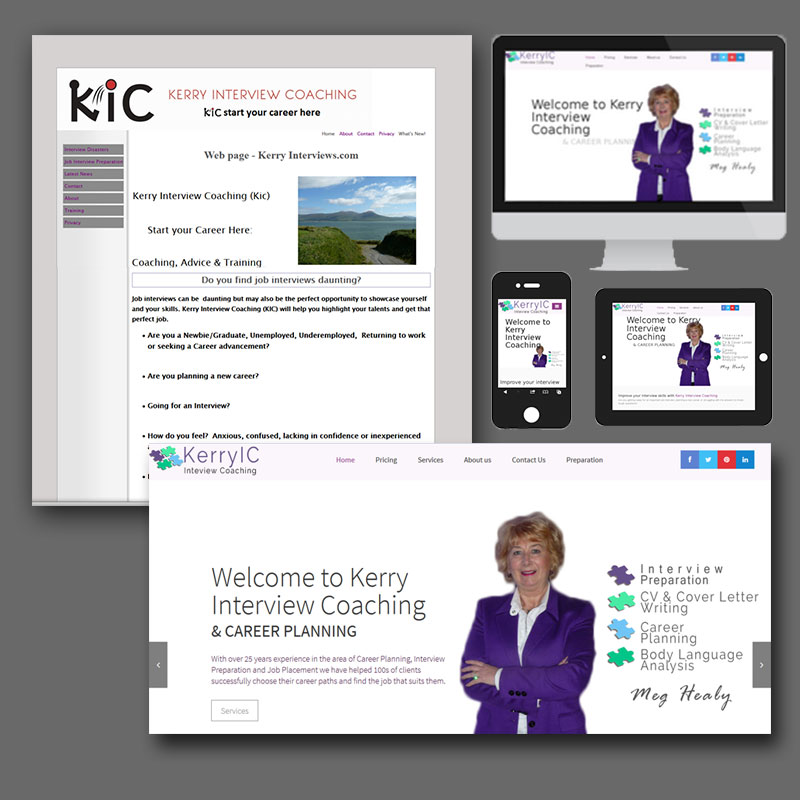 Kerry Interview Coaching phone, tablet and laptop website images